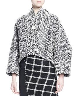 Tweed Cocoon Jacket w/ Brooch