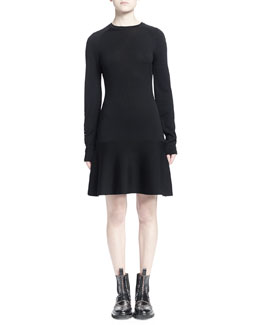 Staple-Trimmed Flounce Sweaterdress