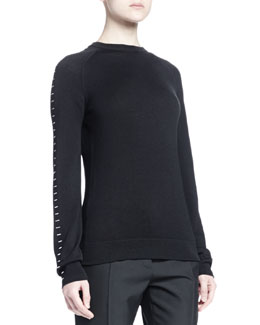 Stapled Raglan-Sleeve Sweater