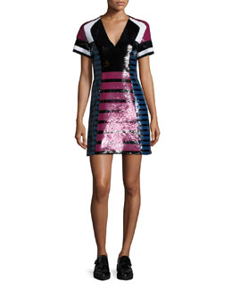 Striped Sequined Cocktail Dress