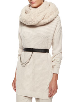 Cashmere-Blend Boucle Knit Scarf