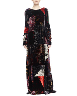Patchwork Velvet V-Back Gown