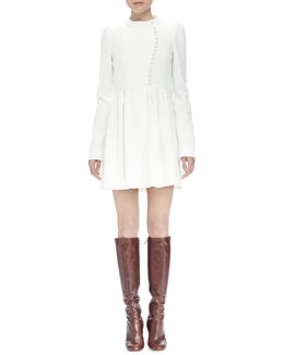 Long-Sleeve Asymmetric Button-Front Dress, Ivory
