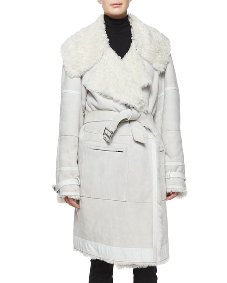 Luxe Shearling Fur Belted Coat