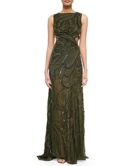 Paisley Velvet Sequined Cutout Gown