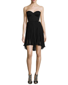 Faye Strapless Flounce-Hem Cocktail Dress