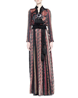 Geometric-Print Pleated Maxi Dress