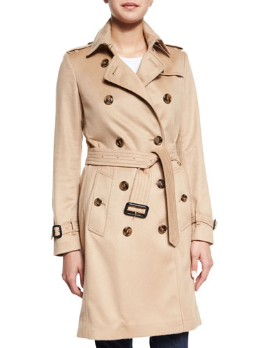 Cashmere Mid-Length Trenchcoat, Camel