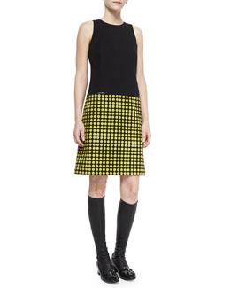 Sleeveless Colorblock Shift Dress, Black/Yellow