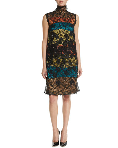 Sleeveless Shift Dress W/Embellished Lace Overlay, Multi Colors