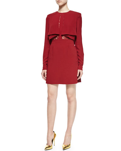 Fold-Pleated Layered Cocktail Dress