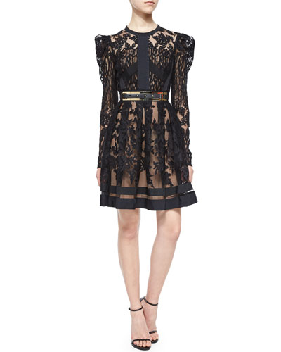 Puff-Sleeve Sheer Lace Fit-And-Flare Cocktail Dress
