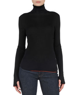 Contrast-Trimmed Ribbed Sweater, Black