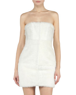 Shine Strapless Shearling Fur Sheath Dress