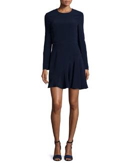 Long-Sleeve Stretch-Cady Dress, Navy