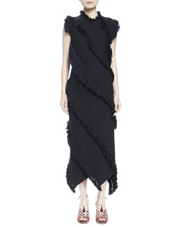 Diagonal Fringe Paneled Dress