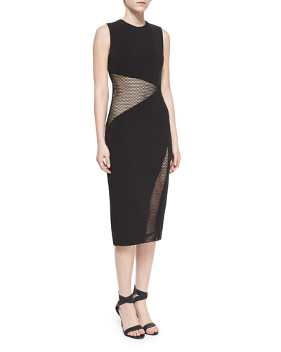 Paneled Mesh-Inset Sheath Dress
