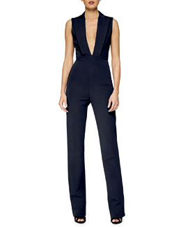 Peaked-Lapel V-Neck Jumpsuit, Navy