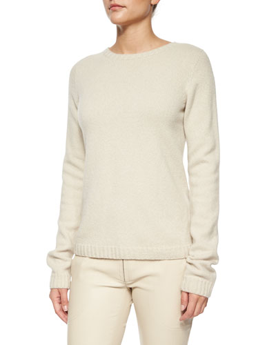 Tisa Cashmere-Blend Crewneck Knit Top, Light Beige