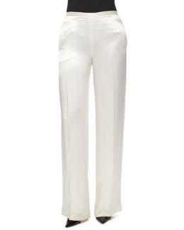 Misa Satin Wide-Leg Pants, White