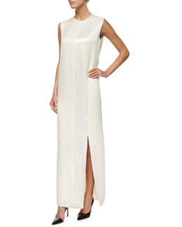 Tazi Satin Embroidered-Stripe Tuxedo Gown, Rose Cream