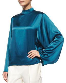 Satin Mock-Neck Kimono-Sleeve Blouse