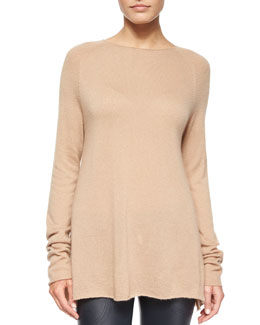 Banny Cashmere-Silk Tissue Sweater, Light Beige
