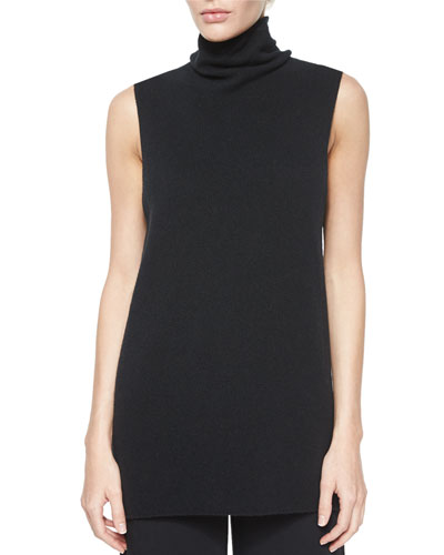 Leona Sleeveless Turtleneck Top, Black