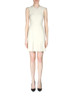 Jenolan Sleeveless Dress with Asymmetric Seams, Cream