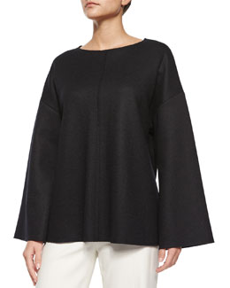 Zadine Bell-Sleeve Knit Top, Black