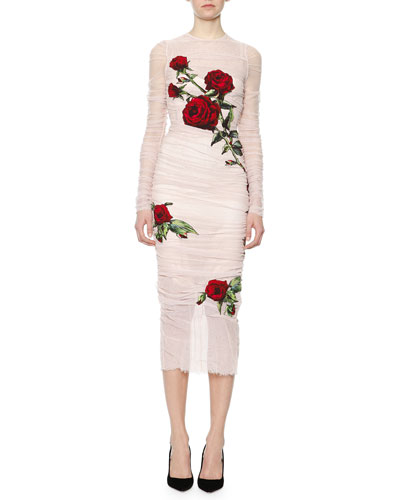 Rose Applique Ruched Tulle Sheath Dress