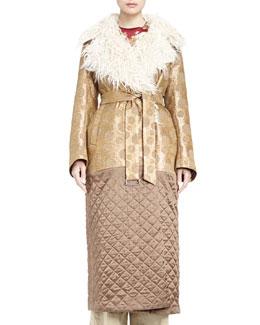 Riviera Medallion Brocade Shearling Fur-Trimmed Combo Coat