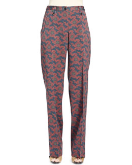 Padang Pleated Medallion-Print Tapered Pants