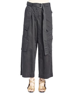 Palese Four-Pocket Belted Cargo Pants, Navy