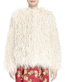 Reese Long-Sleeve Faux-Shearling Jacket, Beige