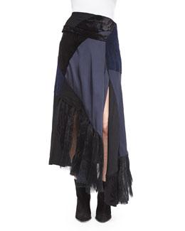 Patchwork Asymmetric Faux-Wrap Skirt