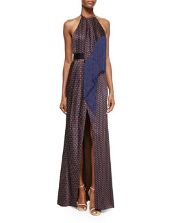 Paisley-Print Scarf-Draped Halter Gown