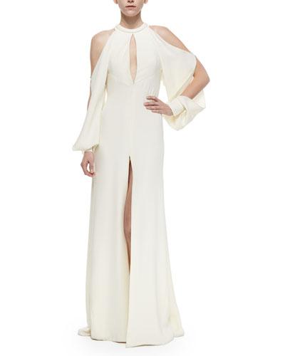 Cutaway Handkerchief Slit Gown