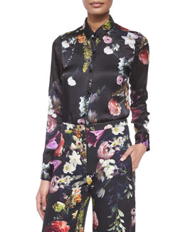 Floral-Print Silk Button-Up Blouse