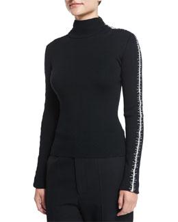 Stitched-Sleeve Merino Wool Mock-Neck Sweater