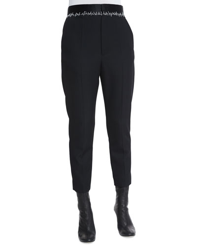 Stitched-Waist Wool-Crepe Pleated Pants