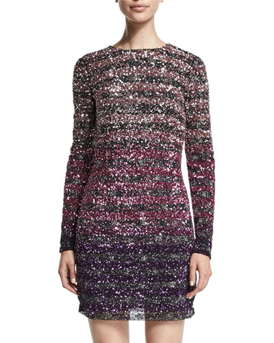 Long-Sleeve Sequined Ombre Dress, Plum