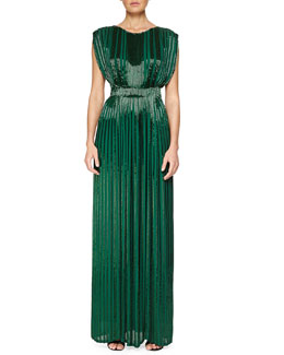 Sequin Pleated Boat-Neck Gown, Evergreen