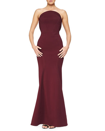 Strapless Fold-Detailed Mermaid Gown