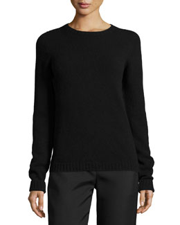 Tisa Crewneck Knit Wool/Cashmere Top, Black