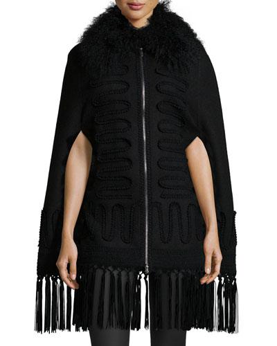 Soutache-Detailed Shearling Fur-Collar Cape, Black