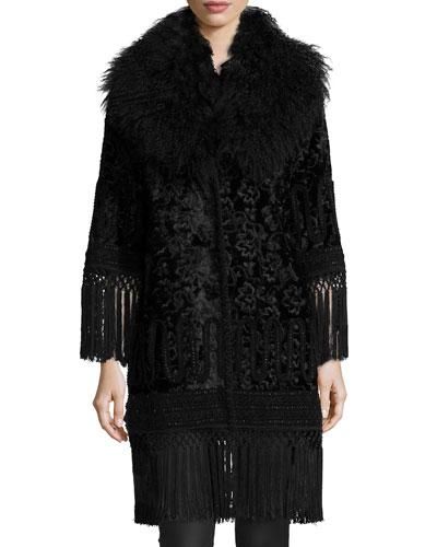 Fringe-Trimmed Shearling Fur-Collar Velvet Coat