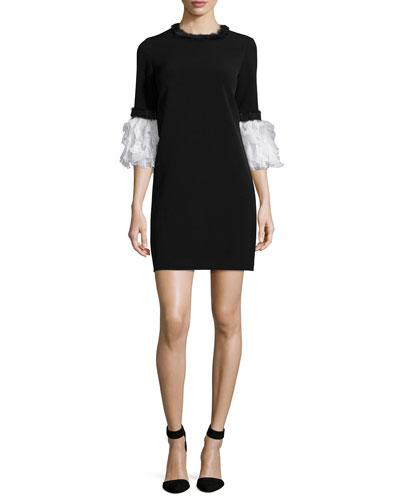 Ruffled Half-Sleeve Knit Dress