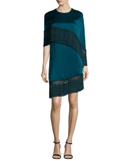Asymmetric Tassel-Trimmed Cape-Top Dress