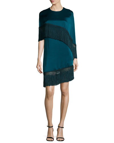 Asymmetric Tassel-Trimmed Cape-Top Dress